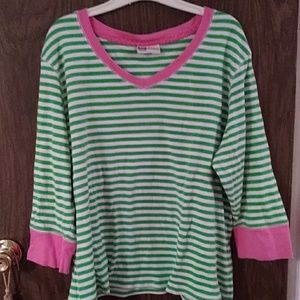Pink and green tee